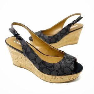 Coach Ferry Wedge Sandals Slingback Heels Size 8.5